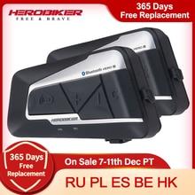 Intercom Motorcycle Headset HEROBIKER Wireless 2 Bluetooth Waterproof 2-Set