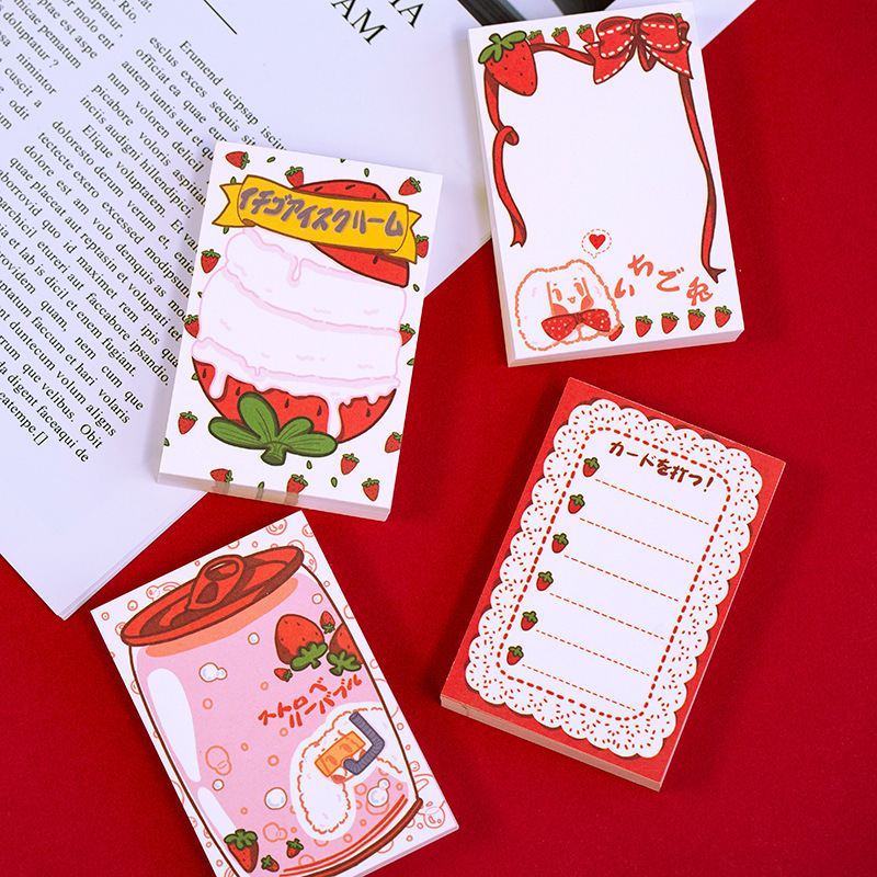 Mohamm 100 Sheets 60mm X 90mm Holiday Strawberry Series Portable Notepad Memo Pad Note Memo Sheets Stationery Office Supplies