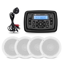 Marine Waterproof Radio Boat Audio Stereo Bluetooth Receiver FM Car MP3 Player+2Pairs 4inch Marine Speaker+USB Boat Audio Cable