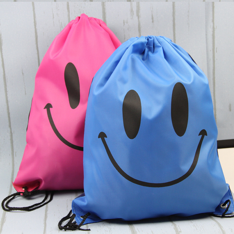 1PC Drawstring Non-woven Oxford Fabric Smile Face Gifts Bags Birthday Party Backpack Kids Supplies