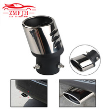 Universal 63mm Car Auto Chrome Exhaust Ppipe Grilled Shark Fin Stainless Steel Muffler Tip End Tail Pipe