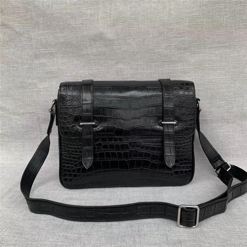 Authentic Real Crocodile Belly Skin Men's Messenger Satchels Bag Genuine Alligator Leather Male Single Shoulder Bag