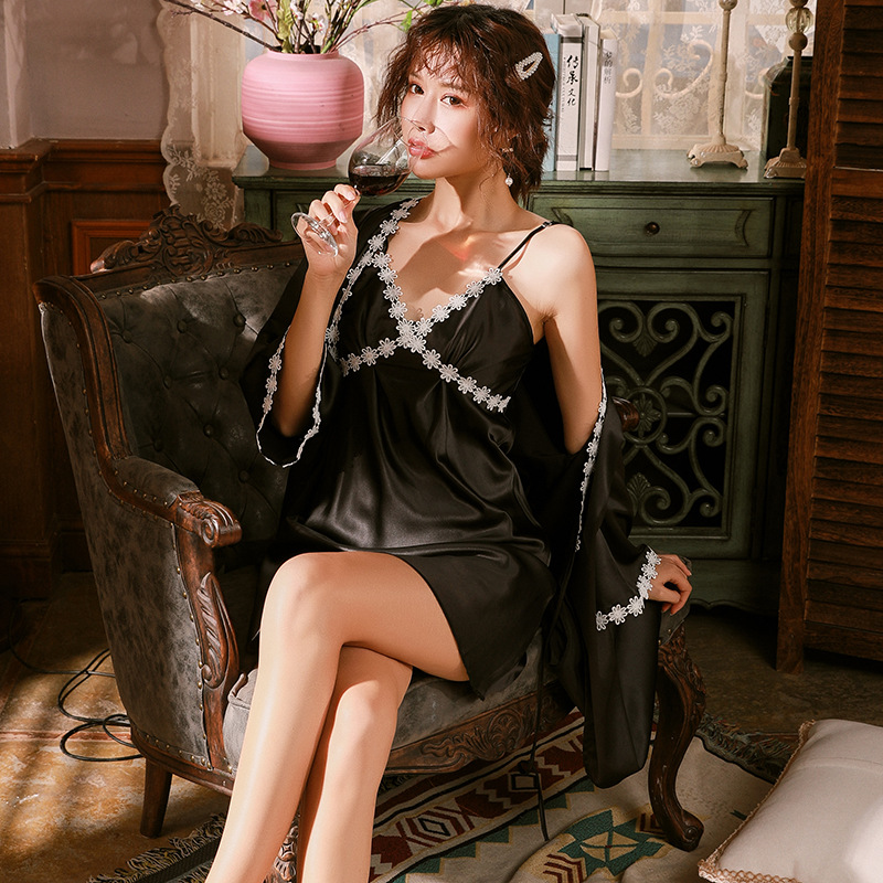 Sexy Pajamas Women's Summer Thin Hot Adult Strap with Chest Pad Sexy Lingerie Nightgown Two Piece Suit