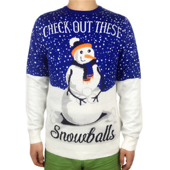 Knitted Snow Balls Graphic Tacky Ugly Christmas Sweater for Men Funny Party Knit Pullover Mens Xmas Jumper Plus Size