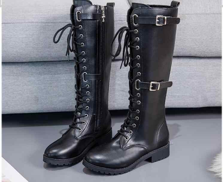 ใหม่ pu แฟชั่น lace-up รองเท้าส้นสูงเซ็กซี่ elegant rivrt shose cancise ปั๊มฤดูหนาวนุ่มและสบาย wedges รองเท้าผู้หญิงรองเท้า