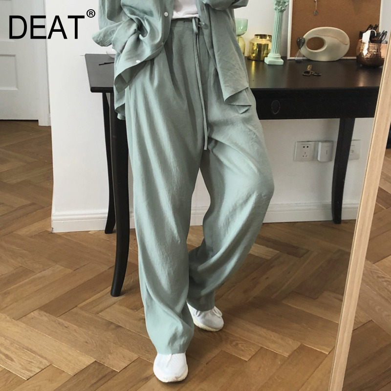 DEAT 2020 New Spring Summer Solid Color High Waist Lace-up Wide Leg Pants Women Korea Loose Casual Trouser Tide PE020