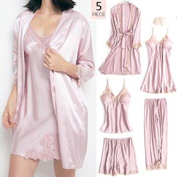 5PCS Sleepwear Female Pajamas Set Satin Pyjamamas Sexy Lace Patchwork Bridal Wedding Nightwear Rayon Home Wear Nighty&Robe Suit 1