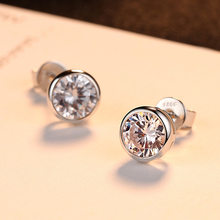 925 Sliver Diamond Earring for Women Fashion Aros Mujer Oreja White Gemstone Topaz Slive Jewelry Garnet Stud Earrings Orecchini(China)