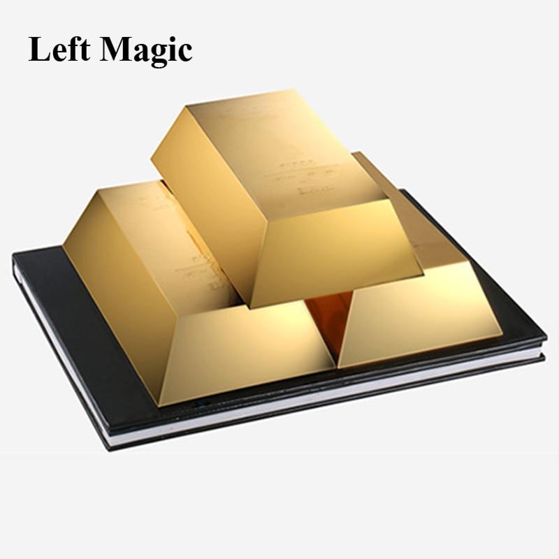 Волшебные трюки Gold Rush Три золота, появляющиеся из книги Magia Волшебная сцена Иллюзия реквизит для фокусов ментализм Забавный, Классический игрушка