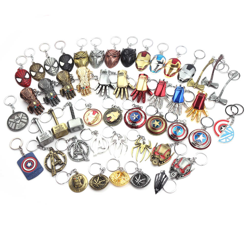 Marvel The Avengers Keychain Thor's Hammer Thanos Gauntlet Key Chain Captain America Shield Hulk Batman Mask Key Ring Wholesale
