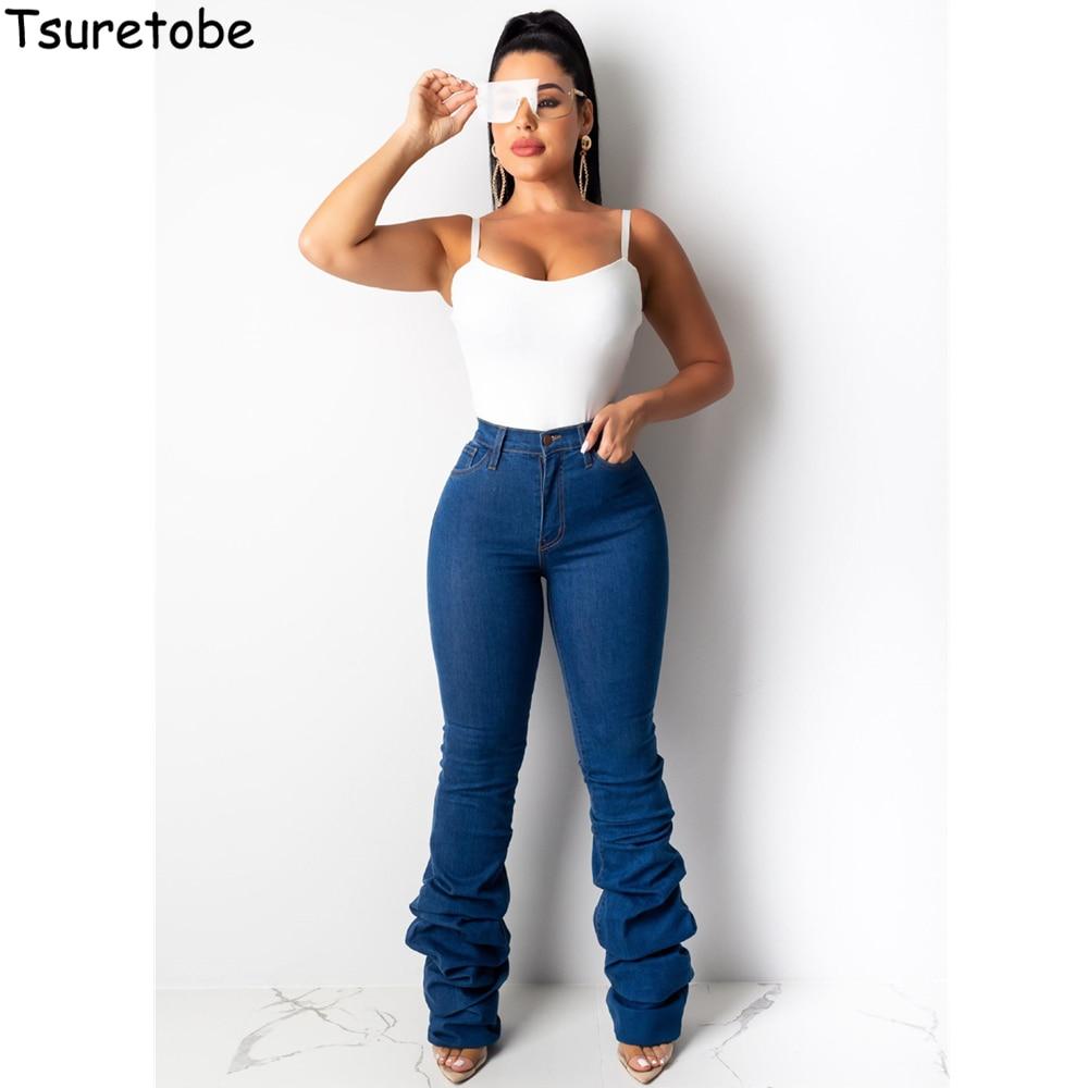 Tsuretobe Stacked Jeans Women 2020 High Waist Bell Bottom Jeans Streetwear Flare Jeans Black Denim Pants Vintage Trousers Female