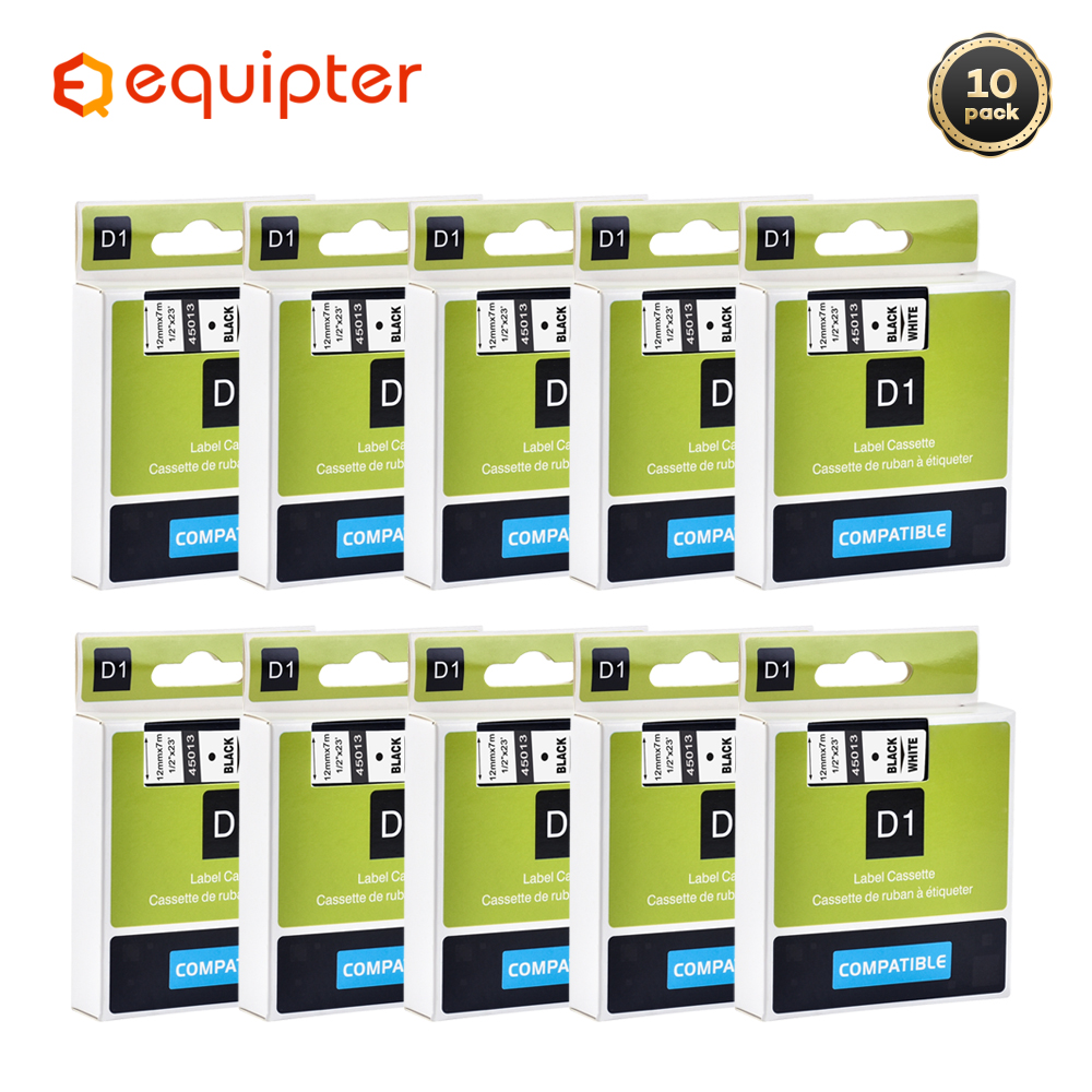 10pcs 45013 Black on white compatible for dymo D1 12mm label printer 45013 laminated label tapes for LM 160 280 label maker