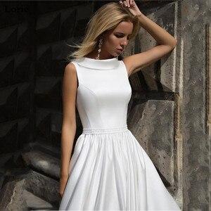 Image 5 - LORIE linii suknia ślubna Boho lalka kołnierz w stylu Vintage bez rękawów sukni ślubnej 2019 Lace Up powrót suknia ślubna długość podłogi