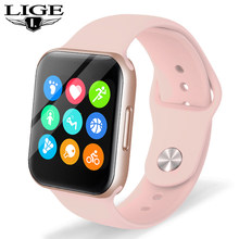 LIGE Full Touch Screen Smart Watch Women Heart Rate Blood Pressure Sport Multifunctional Fitness Tracker Waterproof Smartwatch(China)