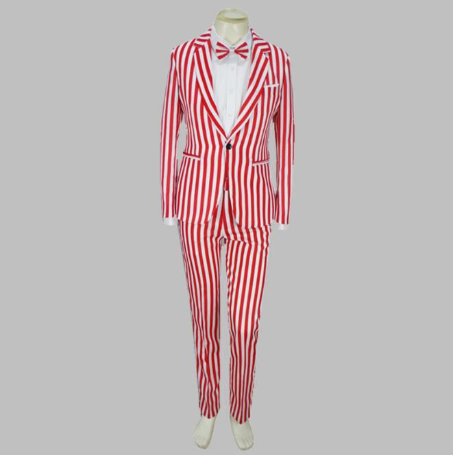 Jacket + Pants New Red And White Stripes Suit Luxury Personality Suits Male Party Blazers Men Wedding Suit Men Fashion Slim Coat