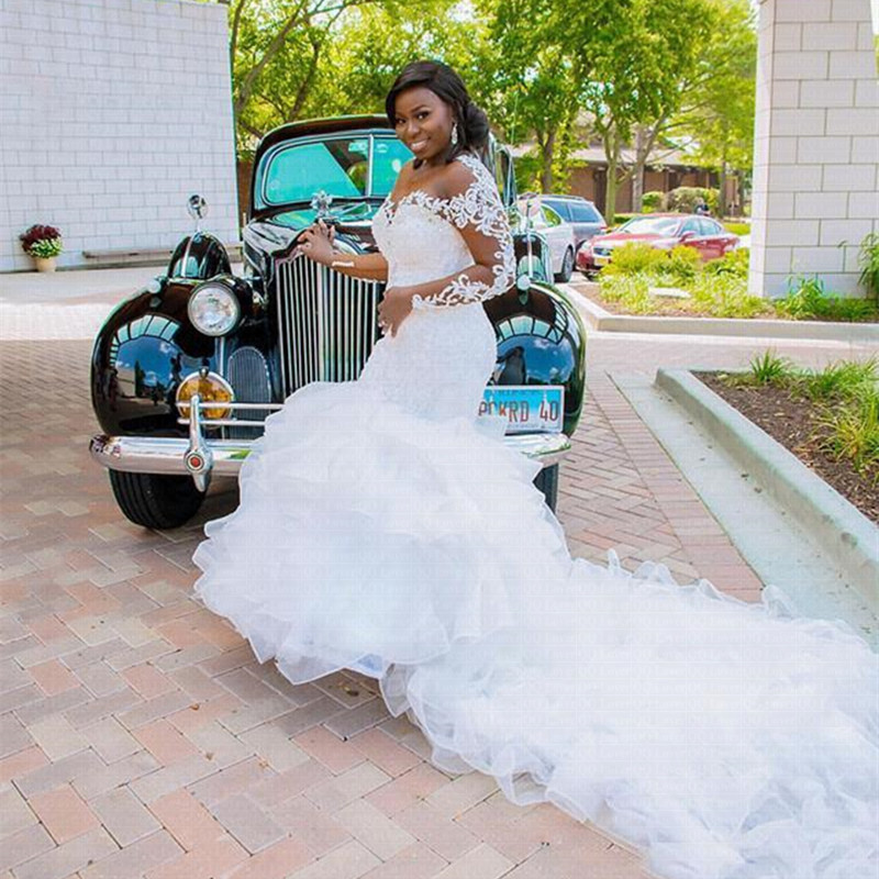 ToP Sale Long Sleeves Ruffle African Mermaid Wedding Dresses 2020 Organza Beads Sheer Bride Dress Lace Big Train Wedding Gown