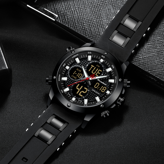 Readeel Men's Top Brand Luxury Chronograph Dual Display Sports Clock Waterproof Quartz Watches 5