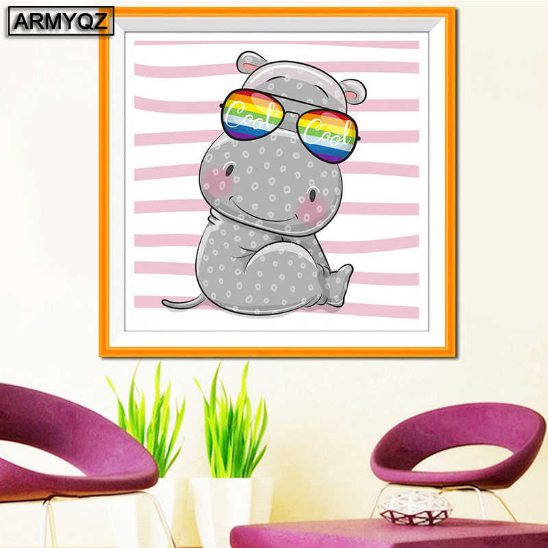 "ARMYQZ 5D Diamond Painting Full Square Round Drill Crafts Diamond Embroidery ""Cartoon animal hippopotamus"" Home decor"