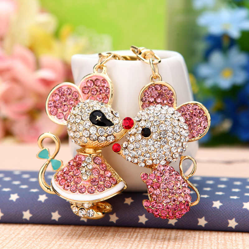 New Creative Crystal Mouse Keychain Cute Cartoon Pig 12 Zodiac Keychain Couple Keychain Girl Handbag Pendant Jewelry men's gift
