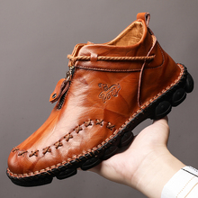 2020 new  Spring Boots Men Genuine Leather Shoes Men Casual Shoes Cow Leather Male Footwear Man Ankle Boots Black Big Size womens ankle boots soft flats shoes fashion womens autumn spring genuine leather shoes female plus big large size 40 41 aa0555