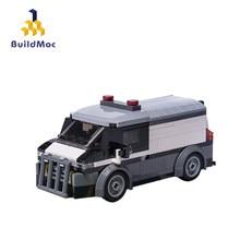Buildmoc cidade polícia série banco transportador blocos de construção conjunto diy modelo educacional montado brinquedos para crianças presentes