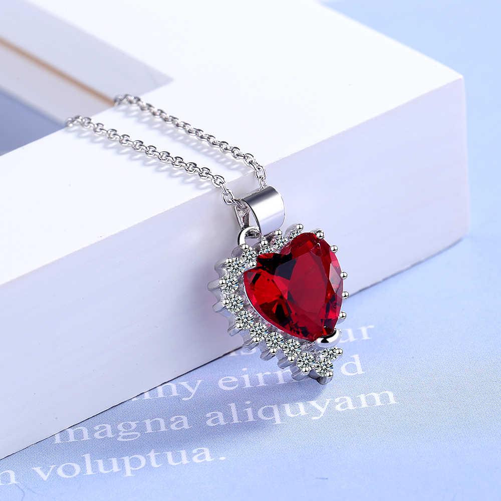 ANENJERY קלאסי כחול אדום לב בצורת תליון שרשראות לנשים 925 סטרלינג כסף זירקון שרשרת שרשרת S-N438
