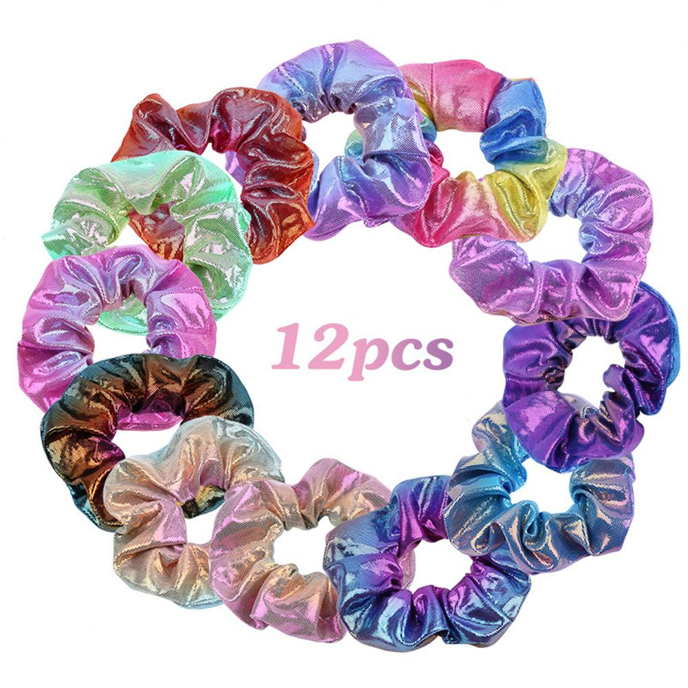 12PCS/Lot Hair Scrunchies Rainbow Shiny Laser Fabric Large Gradient Elastic Hair Band Ties For Women Girls Hair Accessories