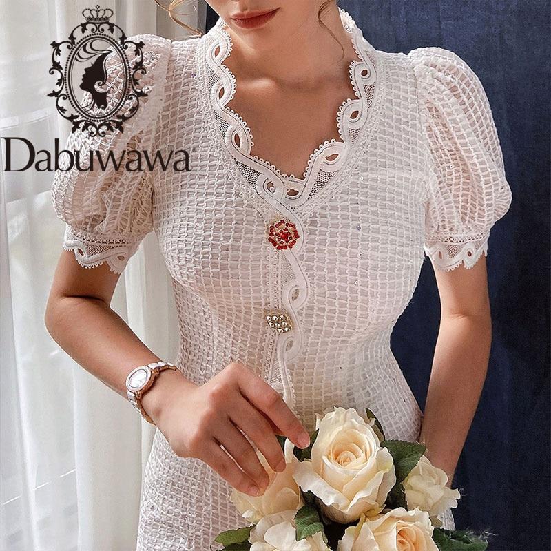 Dabuwawa Exclusive Elegant White Summer Dress Women Puff Sleeve Single Breasted V-Neck Streetwear Dress Ladies DO1BDR060