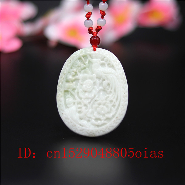 Natural White Chines Jade Flower Bird Pendant Necklace Charm Jewellery Fashion Accessories Carved Amulet Gifts For Women Men