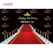 Laeacco Red Carpet Stage Photography Backdrops Personalized 16th Birthday Party Portrait Photographic Backgrounds For Photo Stud