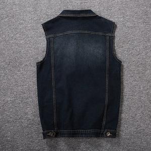 Image 5 - Plus Größe 8XL 7XL 6XL 5XLCotton Jeans Ärmellose Jacke Weste Männer Denim Jeans Weste Männlichen Cowboy Freien Weste Herren jacken