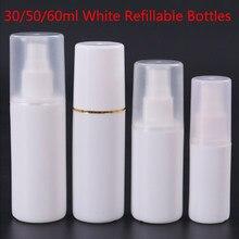 30/60/80/100 ml boş beyaz plastik kozmetik kavanoz vakum kapları yüksek dereceli sprey doldurulabilir şişeler toptan
