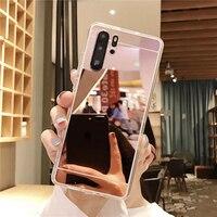 Specchio Caso Molle Della Copertura Del Telefono per Huawei P40 P30 P20 P10 P9 P8 Lite 2017 P40 Lite E P Smart Z Plus Pro 2019 2020 Custodie Coque