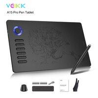 VEIKK A15 Pro tablette de dessin numérique de 10x6 pouces tablette graphique 12 touches et molette de défilement avec gant rouge, bleu, or, gris