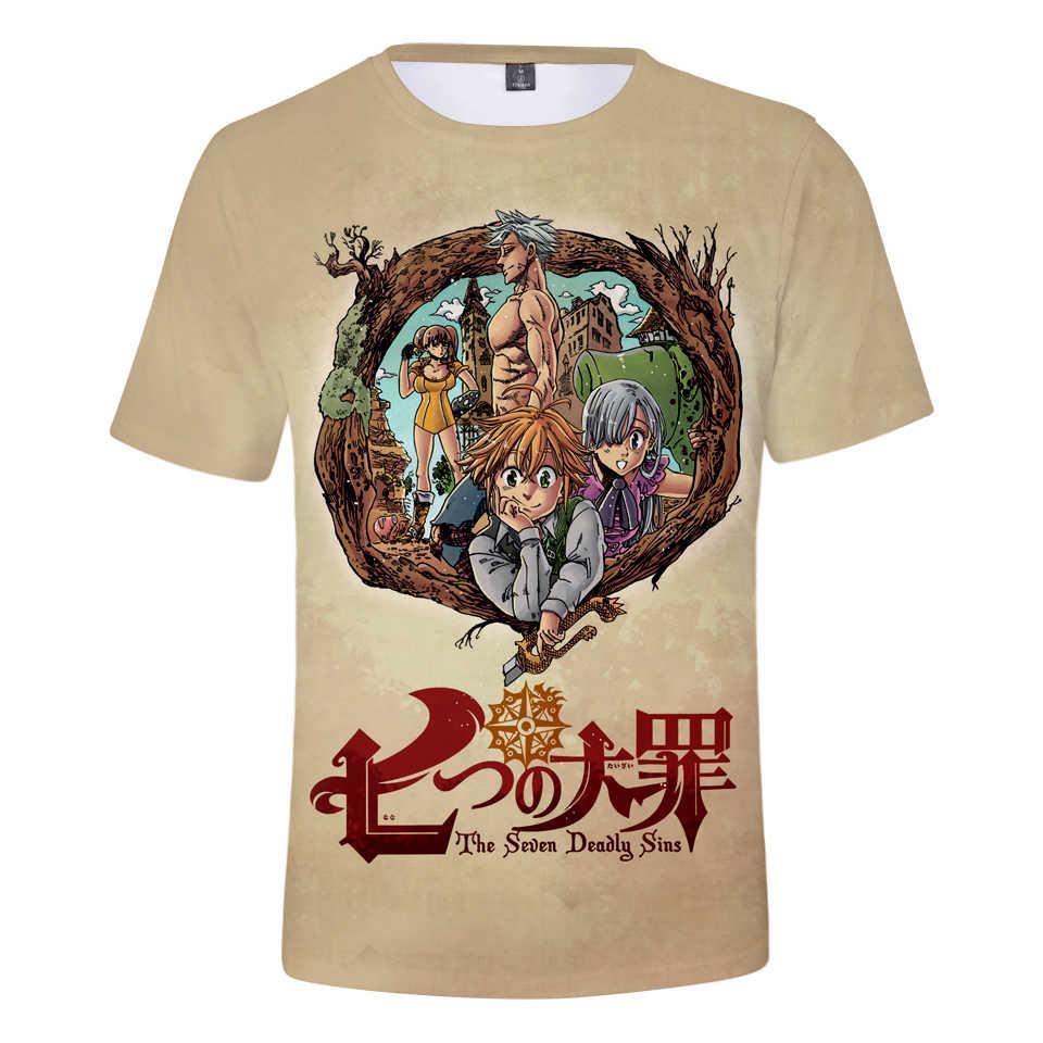 Nanatsu No Taizai 3D Kaos Pria Wanita 2019 Musim Panas Baru Fashion 3D T-shirt Nanatsu No Taizai T-shirt Lengan Pendek