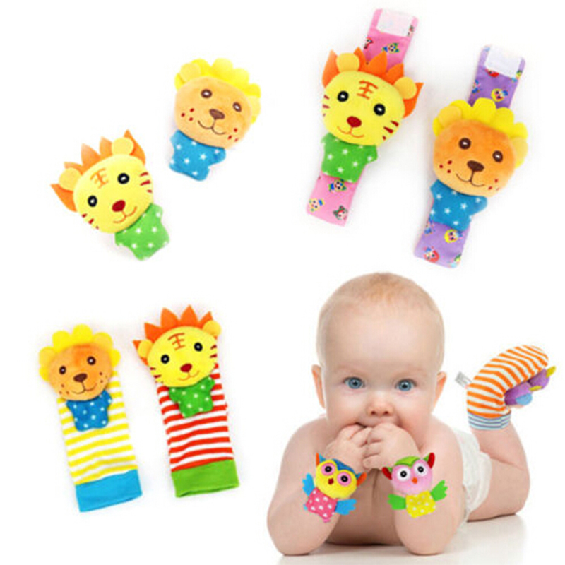 Plush Newborn Soft Doll Colorful Infant Baby Developmental Toy 2 Pcs/Set Dog Pig Lion Wrist Band Rattle Foot Socks Ring Bell