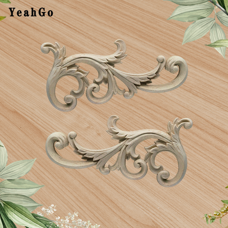 YeahGo Solid Woodcarving Corner Flower Rubber Wood Decals Furniture And Home Decoration Wood Applique Accessories Europeanstyle