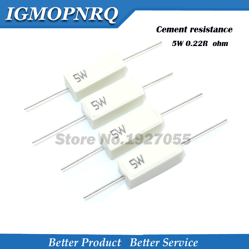 10pcs High Quality 5w  Cent Resistance 0.22 Ohm  0.22R 5W 5% Cement Resistor  NEW