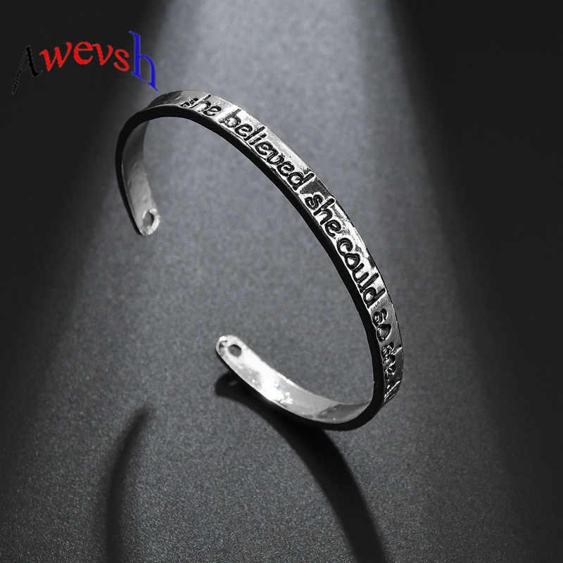 Awevsh Engrave она верила, что она может, так что она делает буквы манжеты Браслеты Винтаж дружбы браслет браслеты для подарков для женщин подарок