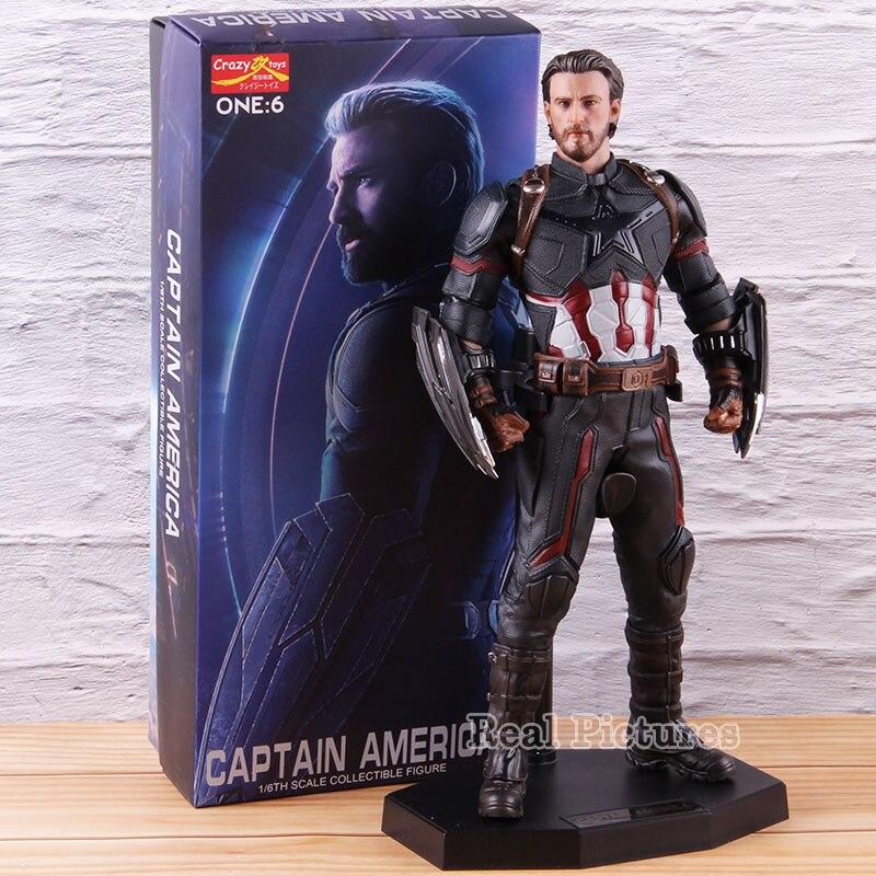 Jouets fous 1:6 Statue Captain America Marvel Avengers Endgame figurine d'action 1/6th échelle à collectionner modèle jouet décoration cadeau