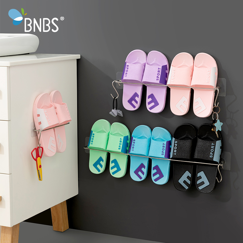 Wall Shelf Shoe Rack Organizer Hooks On The Wall Stand Shelves For Slippers Storage Organizers Shoemaker Stainless Steel Rack