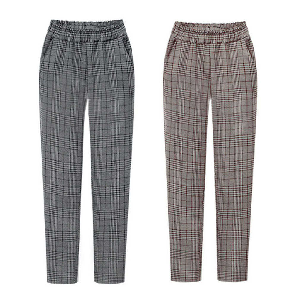 FREE OSTRICH Women's Winter Elastic Waist Plaid Plus Size Casual Fittness Pants With Pockets With Pockets Winter Ladies 724