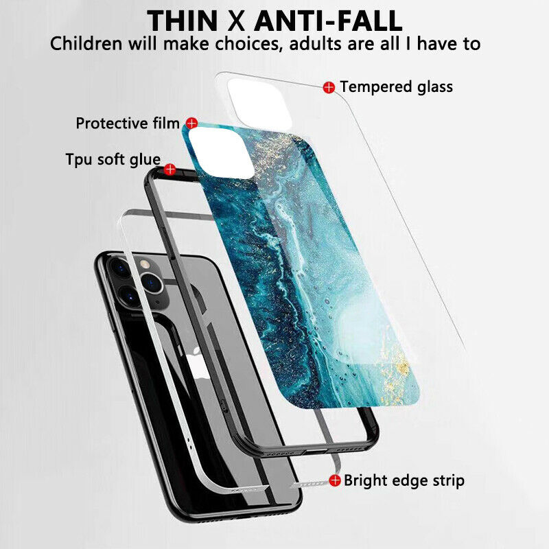 Luxury Marble Glass Waterproof Phone Case for iPhone 12 Mini