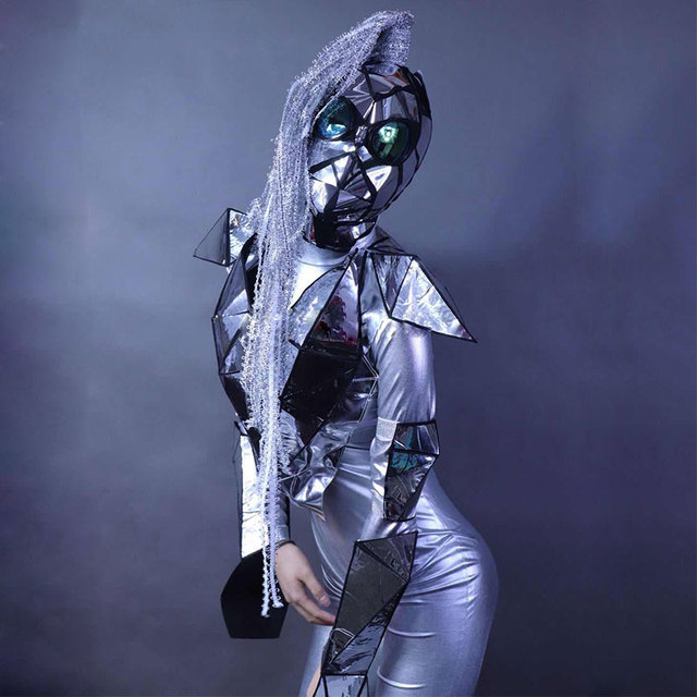 Silver Future technology sense silver mirror stage jumpsuit set soldier men and women gogo dance team party rave costume mask
