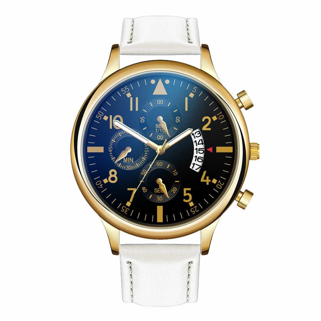 腕時計ビジネスクォーツ腕時計男性革バンドステンレス鋼ダイヤル腕時計高品質のファッションの高級新 erkek kol saati
