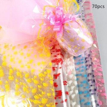 70 Pcs Kerst Apple Bloem Inpakpapier Grote Ronde Transparante Cellofaan Plastic Papier Cadeaupapier