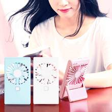 Portable Handheld Fan With Makeup Mirror USB Mini Desk Fan 3 Speed Adjustable For OutdoorTravel Office Room(China)