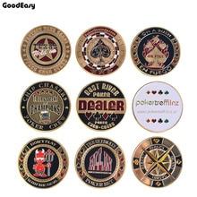 Металлическая защита для покера, карты для покера, металлические сувенирные фишки для покера, дилерские монеты, аксессуары для покера