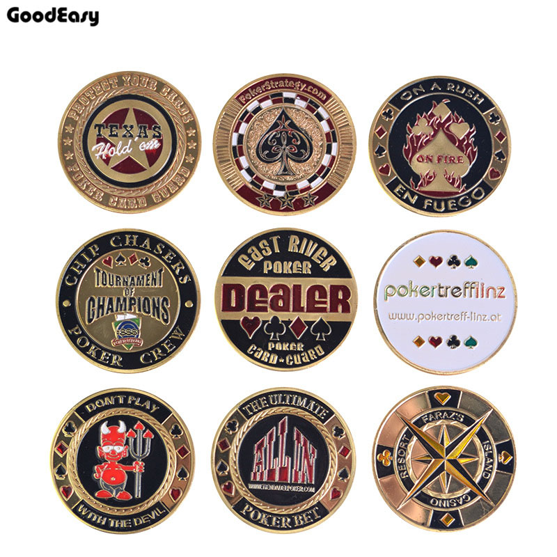 Metal Poker Card Guard Protector Poker Cards Metal Souvenir Poker Chips Dealer Coins Poker Game Hold'em Accessories