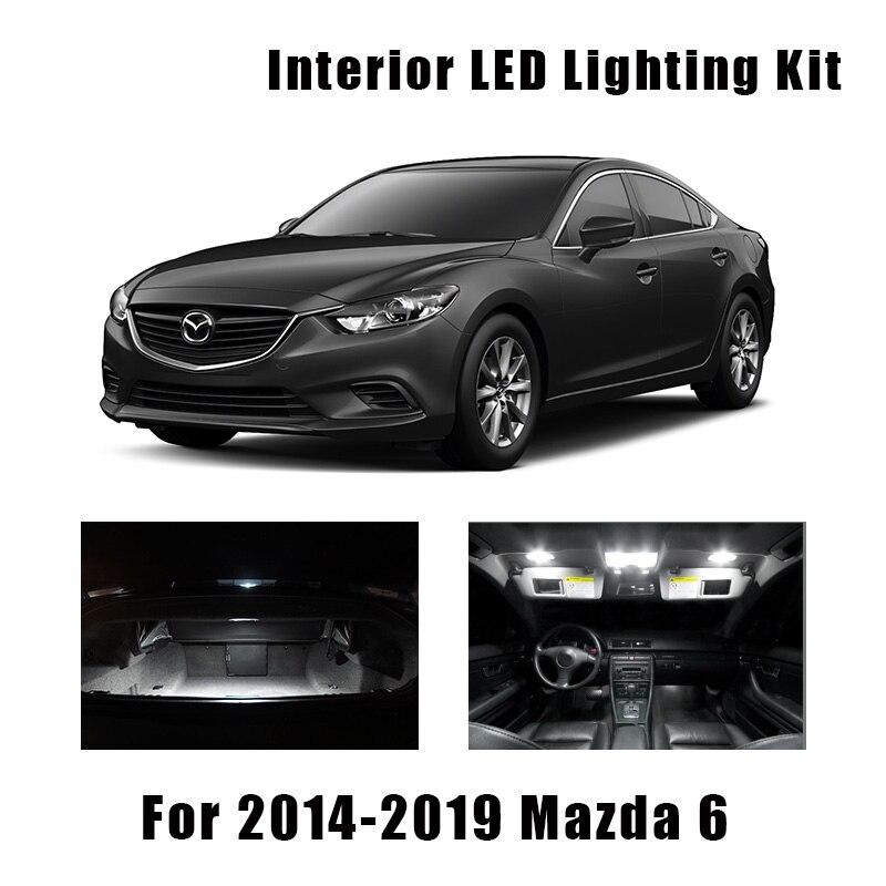 13 pçs branco lâmpadas carro led interior leitura kit de luz de teto apto para mazda 6 2014-2017 2018 2019 porta de carga tronco lâmpada de licença